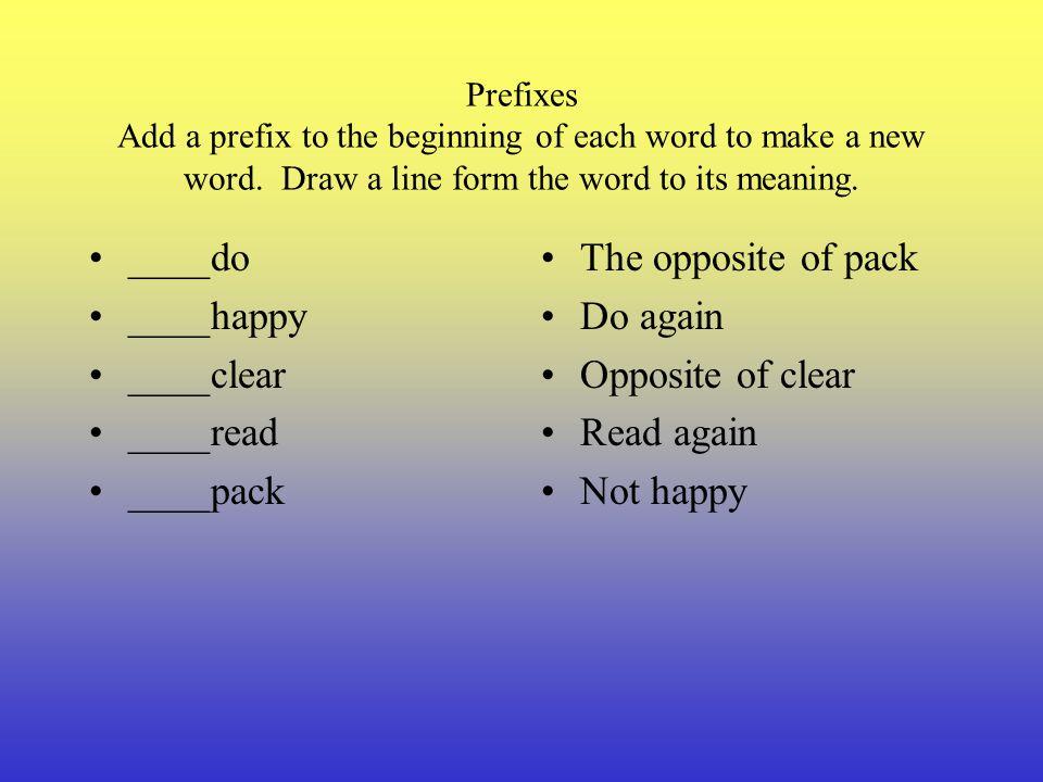 Prefixes The prefix re means again. Reread means to read again. Rewrite means to write again. What does reheat mean? The prefix un means not or the op