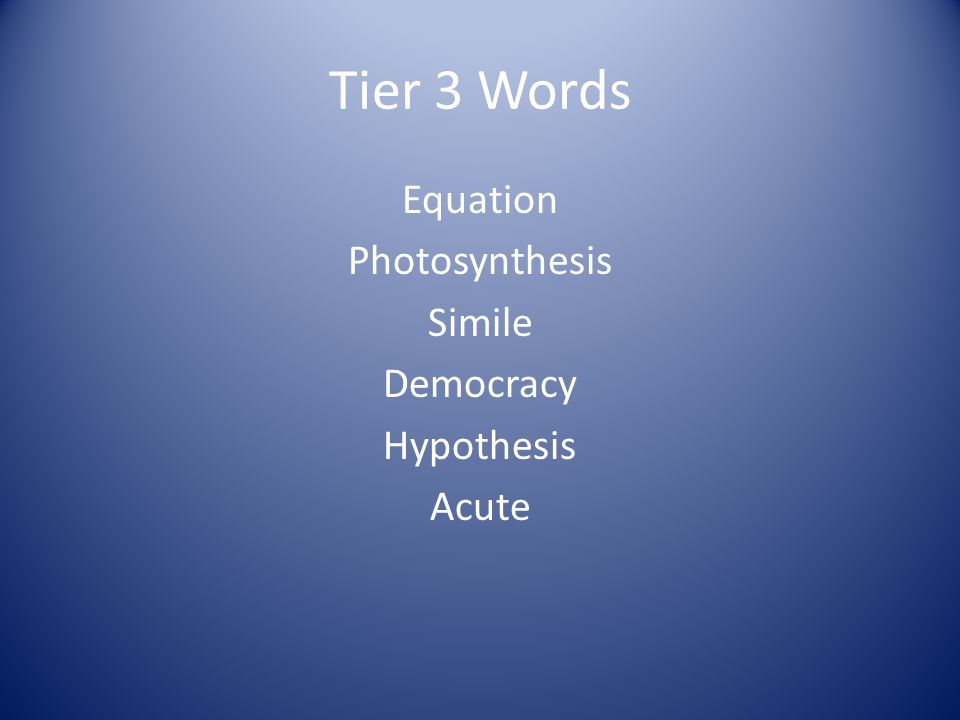 Tier 3 Words Equation Photosynthesis Simile Democracy Hypothesis Acute