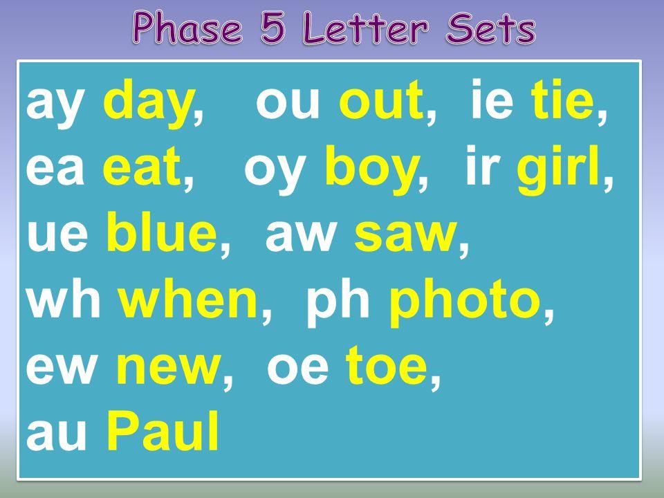 ay day, ou out, ie tie, ea eat, oy boy, ir girl, ue blue, aw saw, wh when, ph photo, ew new, oe toe, au Paul ay day, ou out, ie tie, ea eat, oy boy, i