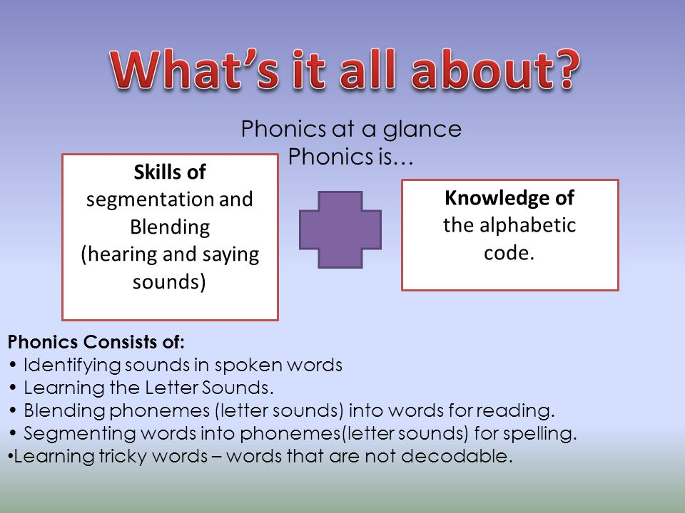 A phoneme (We refer to these as the letter Sounds) This is the smallest unit of sound in a word.