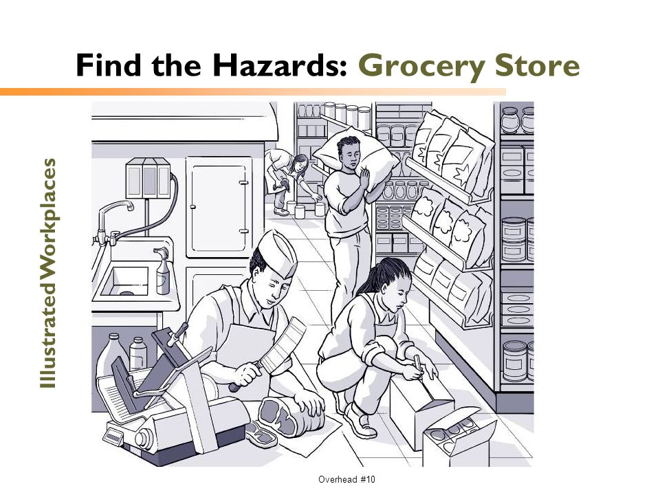 Overhead #10 Find the Hazards: Grocery Store Illustrated Workplaces