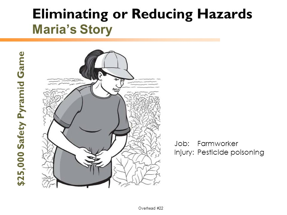 Overhead #22 Eliminating or Reducing Hazards Maria's Story $25,000 Safety Pyramid Game Job:Farmworker Injury:Pesticide poisoning