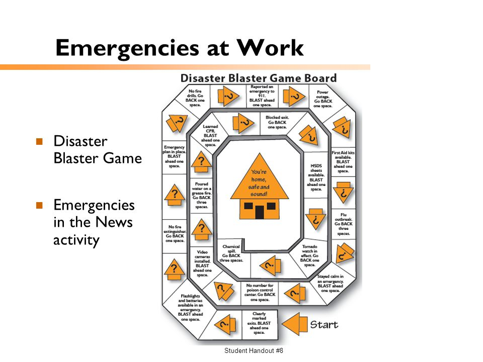 Student Handout #8 Emergencies at Work Disaster Blaster Game Emergencies in the News activity