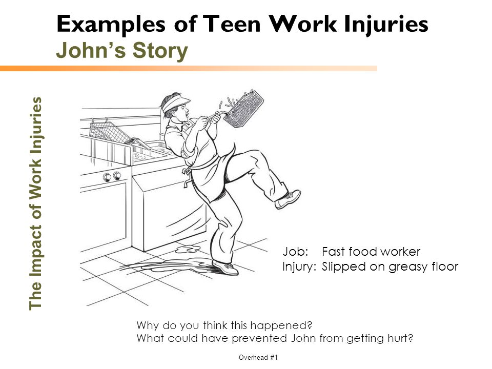 Overhead #1 The Impact of Work Injuries Examples of Teen Work Injuries John's Story Why do you think this happened? What could have prevented John fro