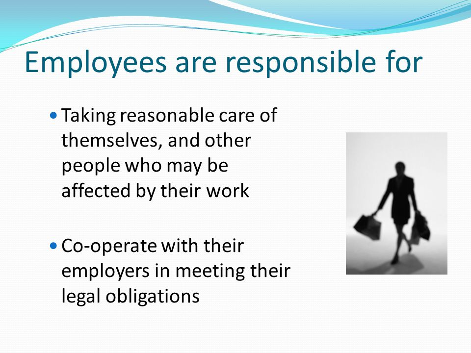 Employees are responsible for Taking reasonable care of themselves, and other people who may be affected by their work Co-operate with their employers