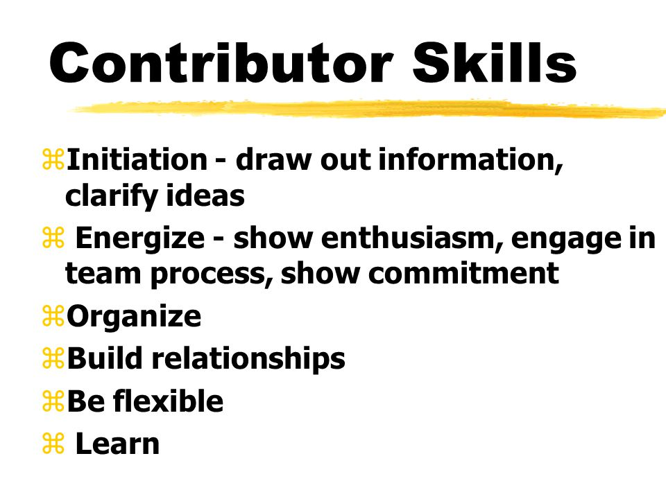 Contributor Skills zInitiation - draw out information, clarify ideas z Energize - show enthusiasm, engage in team process, show commitment zOrganize zBuild relationships zBe flexible z Learn