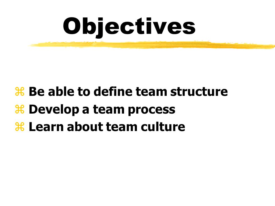 Objectives z Be able to define team structure z Develop a team process z Learn about team culture