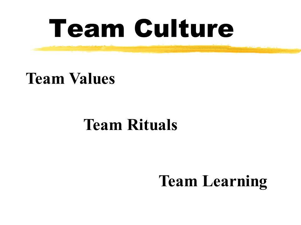 Team Culture Team Values Team Rituals Team Learning