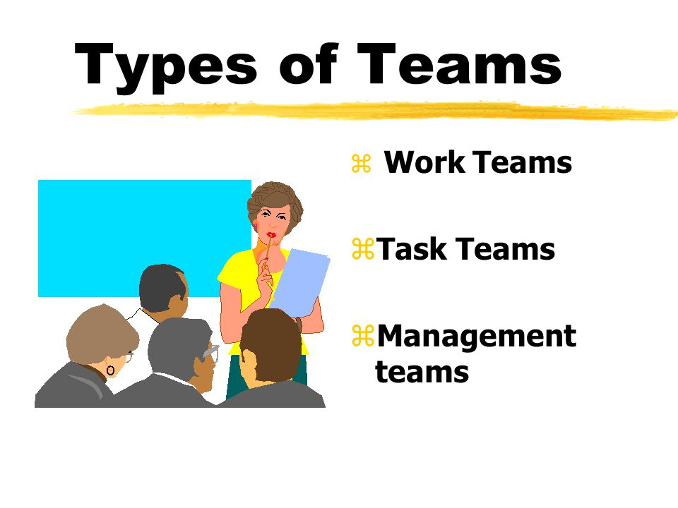 Types of Teams z Work Teams z Task Teams z Management teams