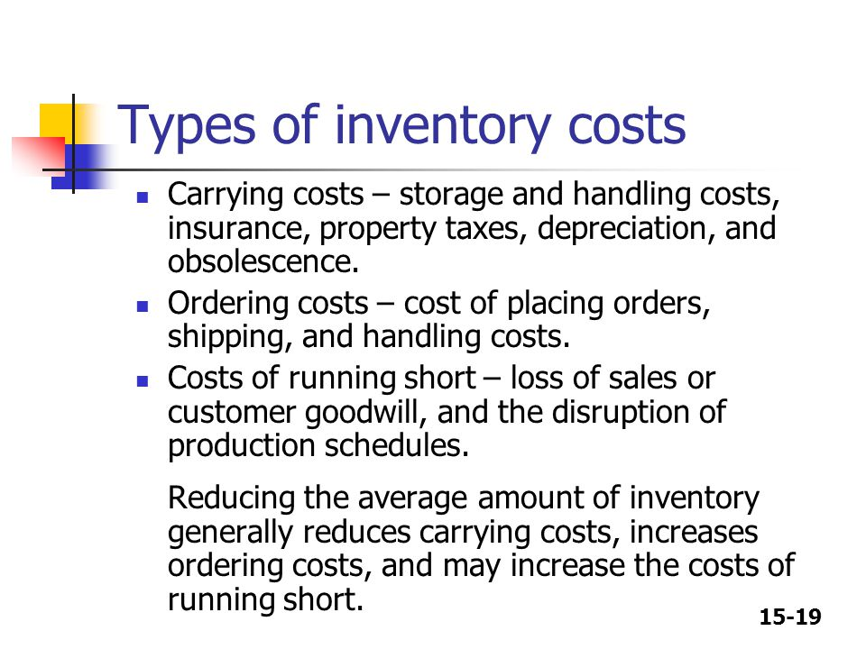 15-19 Types of inventory costs Carrying costs – storage and handling costs, insurance, property taxes, depreciation, and obsolescence. Ordering costs