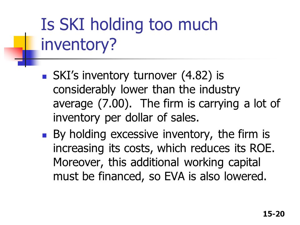 15-20 Is SKI holding too much inventory? SKI's inventory turnover (4.82) is considerably lower than the industry average (7.00). The firm is carrying