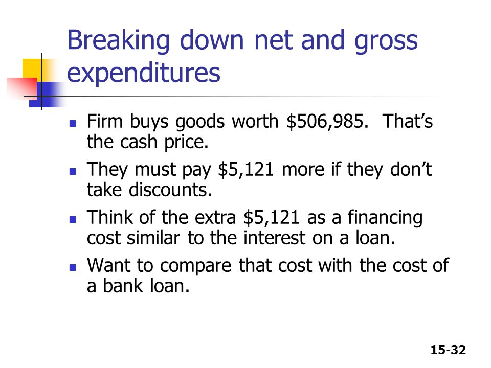 15-32 Breaking down net and gross expenditures Firm buys goods worth $506,985. That's the cash price. They must pay $5,121 more if they don't take dis