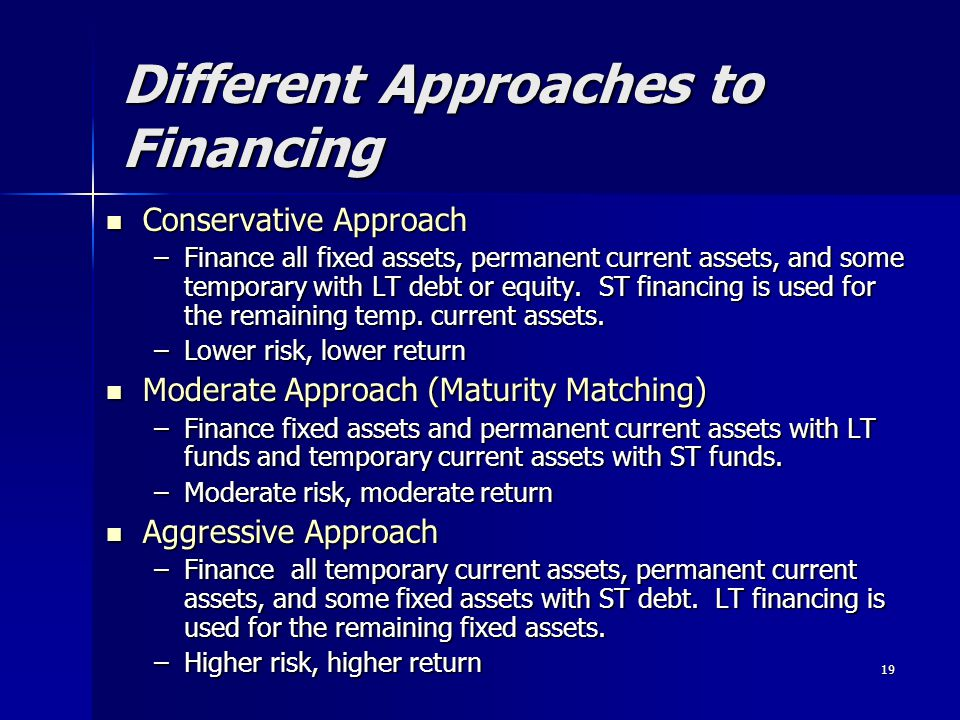 19 Different Approaches to Financing Conservative Approach Conservative Approach –Finance all fixed assets, permanent current assets, and some tempora
