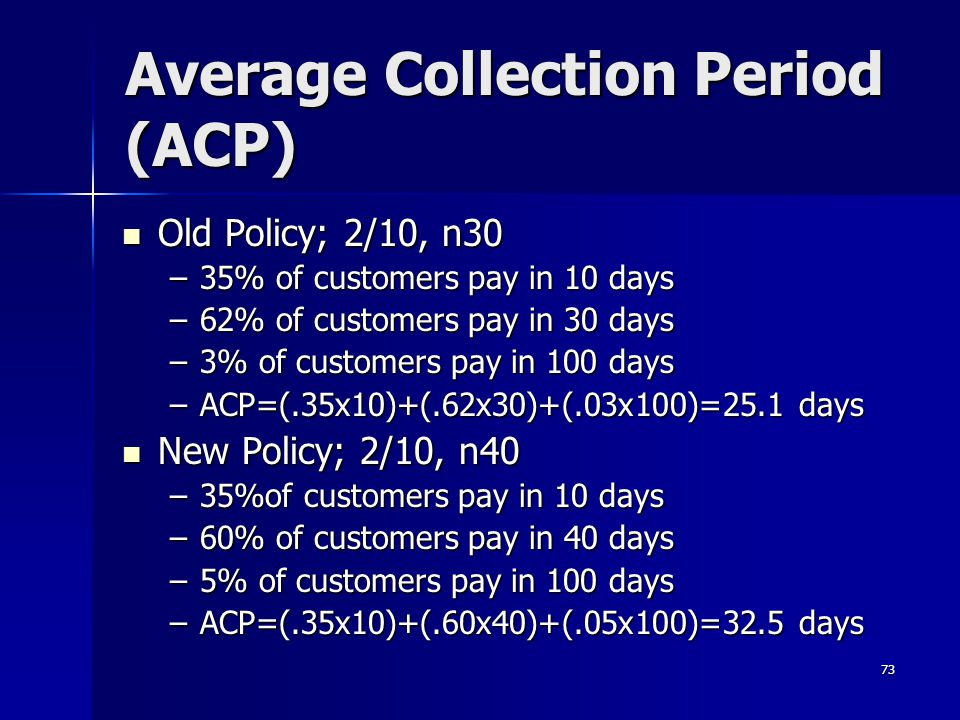 73 Average Collection Period (ACP) Old Policy; 2/10, n30 Old Policy; 2/10, n30 –35% of customers pay in 10 days –62% of customers pay in 30 days –3% o