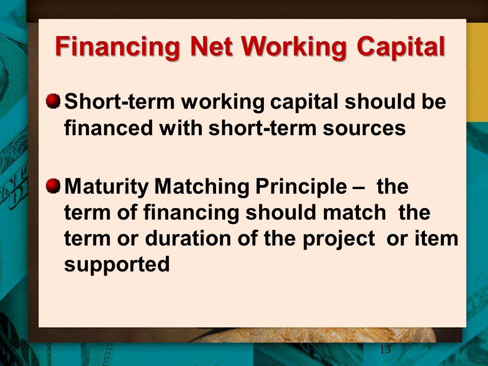 Financing Net Working Capital Short-term working capital should be financed with short-term sources Maturity Matching Principle – the term of financin