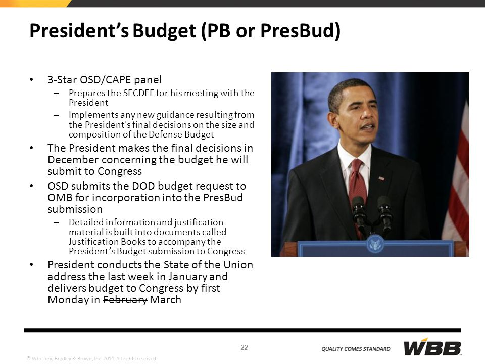 © Whitney, Bradley & Brown, Inc. 2014. All rights reserved. President's Budget (PB or PresBud) 3-Star OSD/CAPE panel – Prepares the SECDEF for his mee
