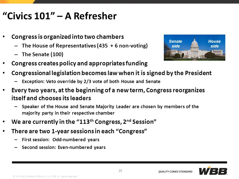 """© Whitney, Bradley & Brown, Inc. 2014. All rights reserved. """"Civics 101"""" – A Refresher Congress is organized into two chambers – The House of Represen"""
