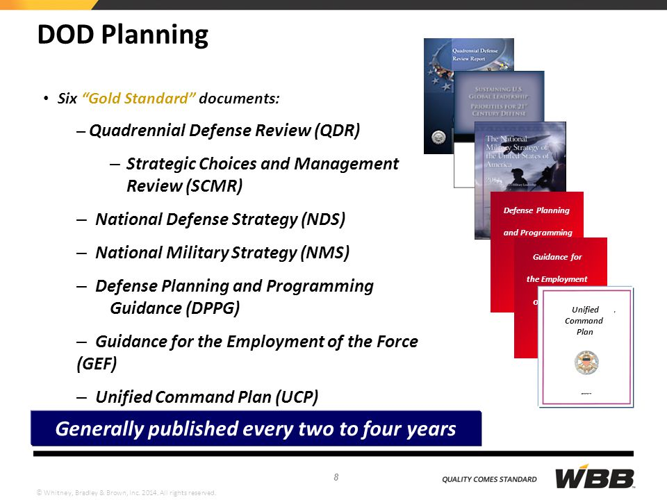 """© Whitney, Bradley & Brown, Inc. 2014. All rights reserved. DOD Planning Six """"Gold Standard"""" documents: – Quadrennial Defense Review (QDR) – Strategic"""