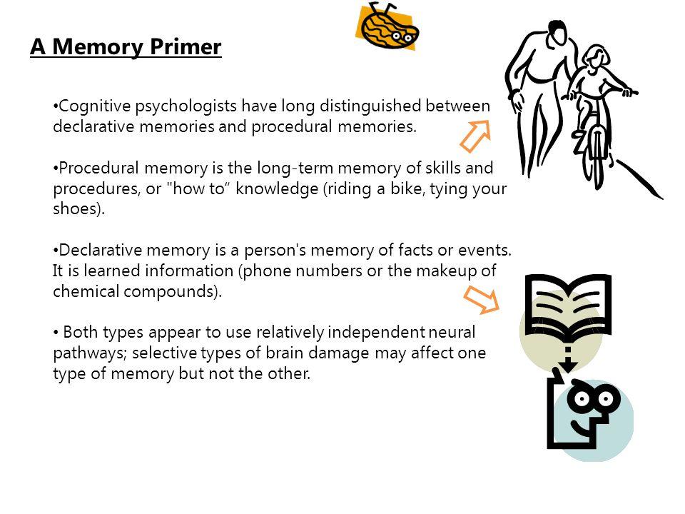 A Memory Primer Cognitive psychologists have long distinguished between declarative memories and procedural memories. Procedural memory is the long-te
