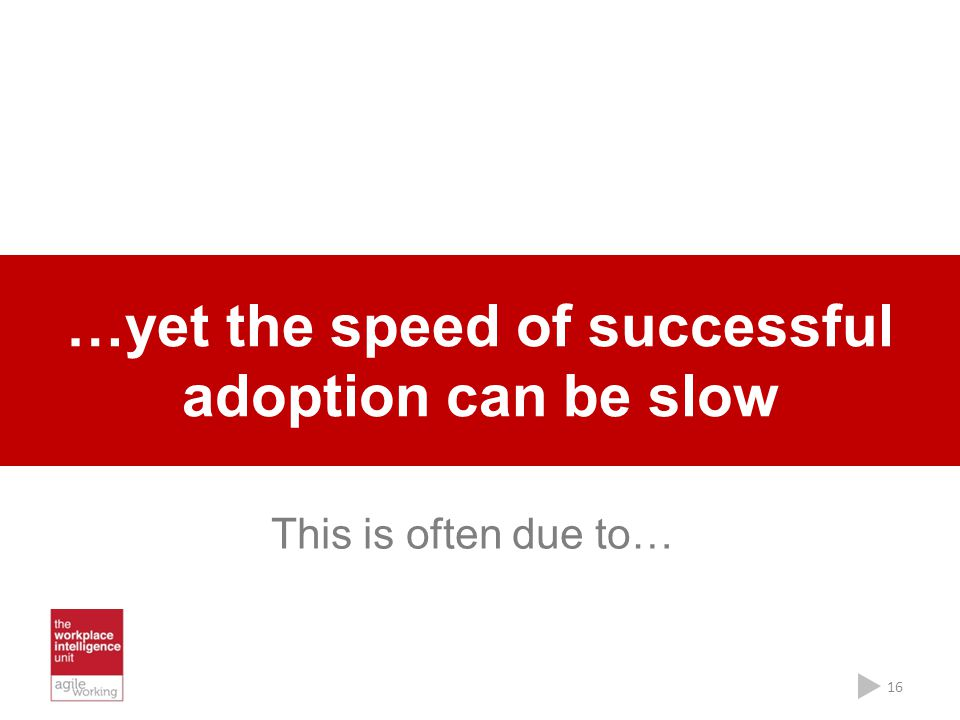 …yet the speed of successful adoption can be slow 16 This is often due to…