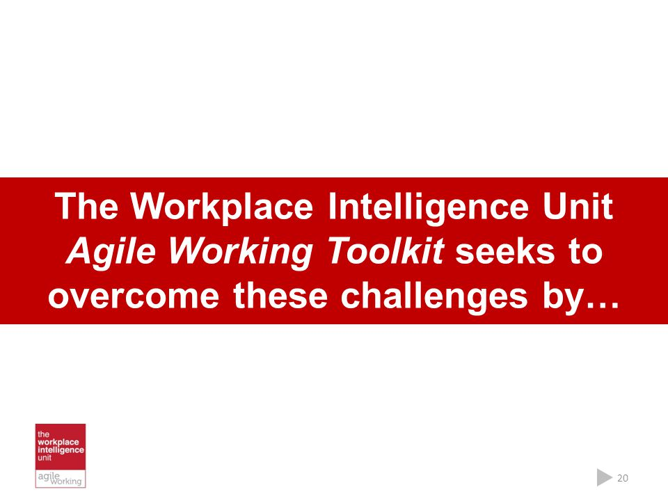 The Workplace Intelligence Unit Agile Working Toolkit seeks to overcome these challenges by… 20