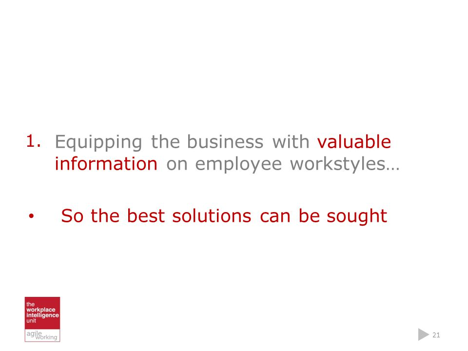 Equipping the business with valuable information on employee workstyles… So the best solutions can be sought 21 1.
