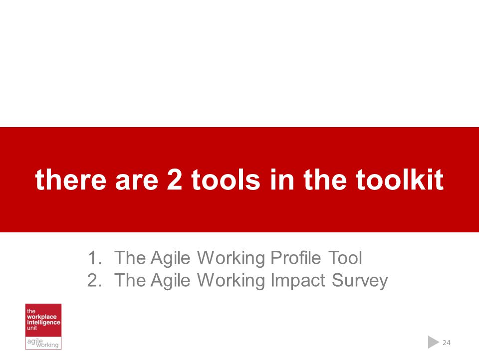 there are 2 tools in the toolkit 24 1.The Agile Working Profile Tool 2.The Agile Working Impact Survey