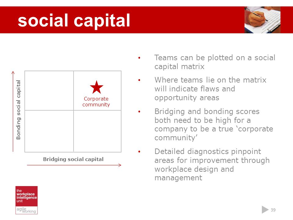 39 social capital Teams can be plotted on a social capital matrix Where teams lie on the matrix will indicate flaws and opportunity areas Bridging and