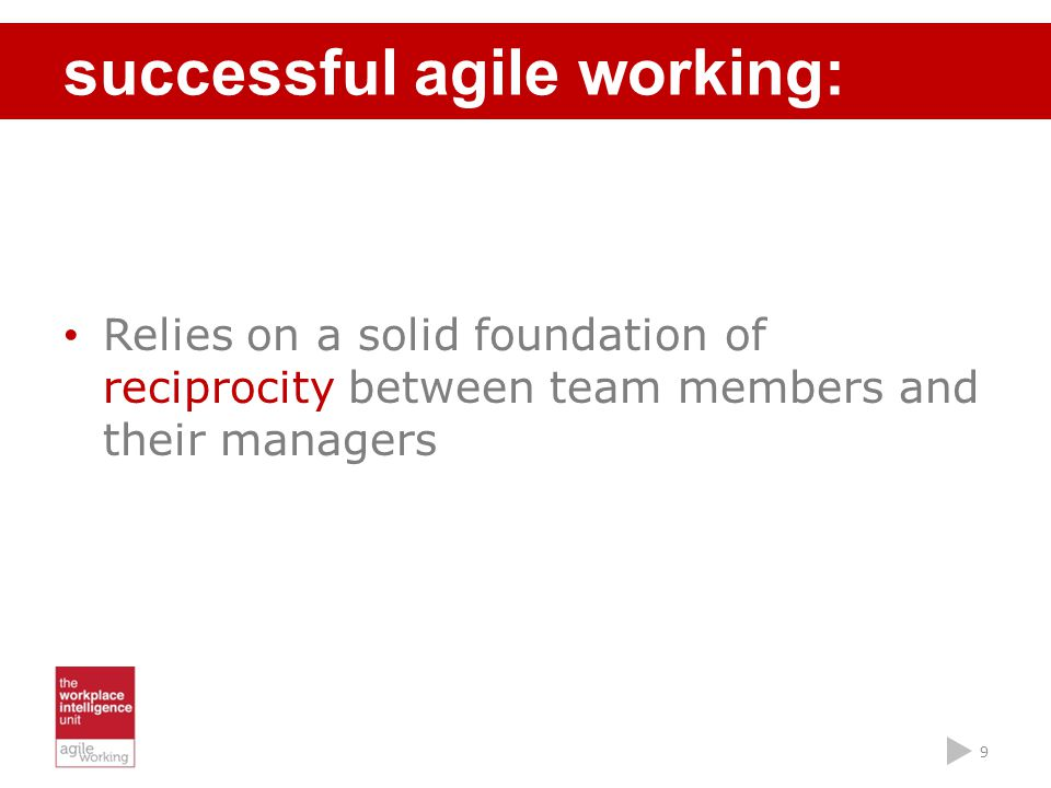 Relies on a solid foundation of reciprocity between team members and their managers successful agile working: 9