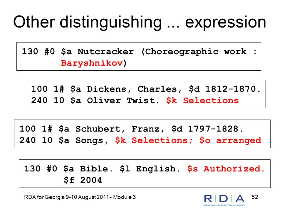 RDA for Georgia 9-10 August 2011 - Module 352 Other distinguishing... expression 130 #0 $a Nutcracker (Choreographic work : Baryshnikov) 100 1# $a Dic