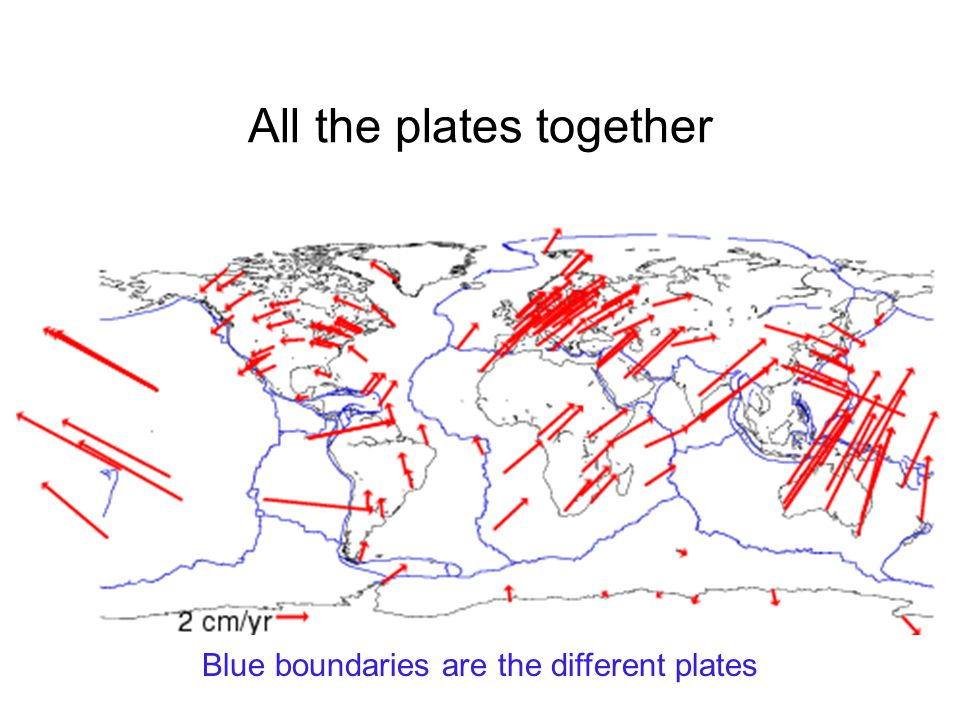 All the plates together Blue boundaries are the different plates