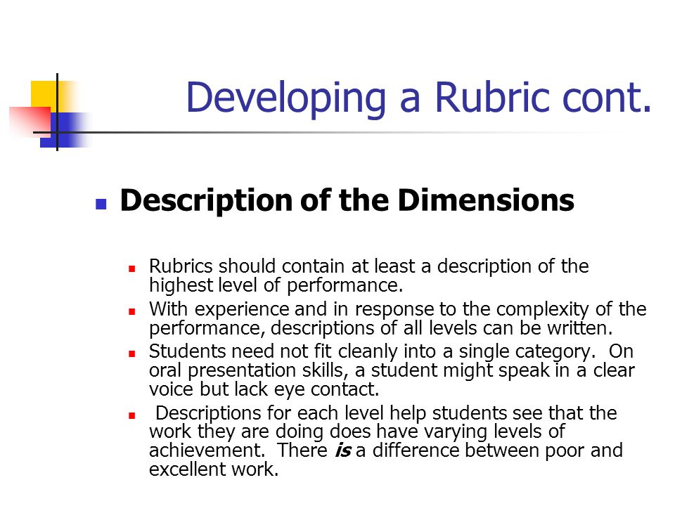 Developing a Rubric cont. Description of the Dimensions Rubrics should contain at least a description of the highest level of performance. With experi