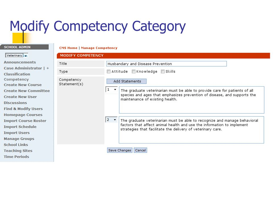 Modify Competency Category