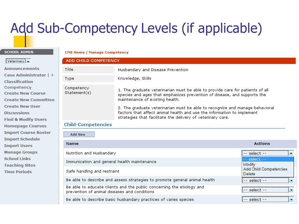 Add Sub-Competency Levels (if applicable)
