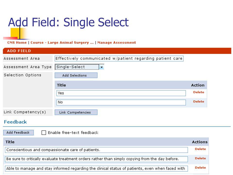 Add Field: Single Select