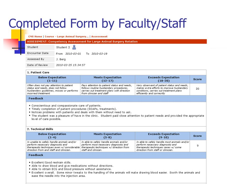 Completed Form by Faculty/Staff