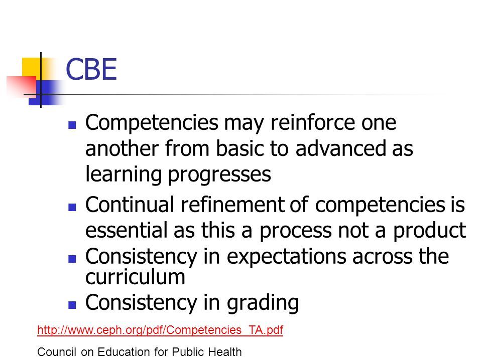 CBE Competencies may reinforce one another from basic to advanced as learning progresses Continual refinement of competencies is essential as this a process not a product Consistency in expectations across the curriculum Consistency in grading http://www.ceph.org/pdf/Competencies_TA.pdf Council on Education for Public Health