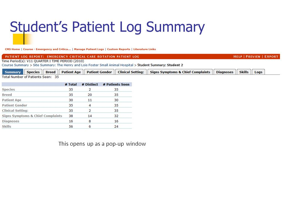 Student's Patient Log Summary This opens up as a pop-up window