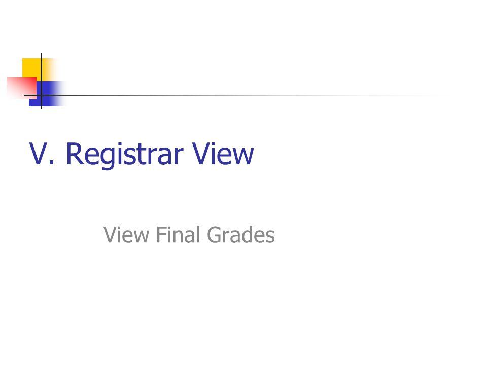 V. Registrar View View Final Grades