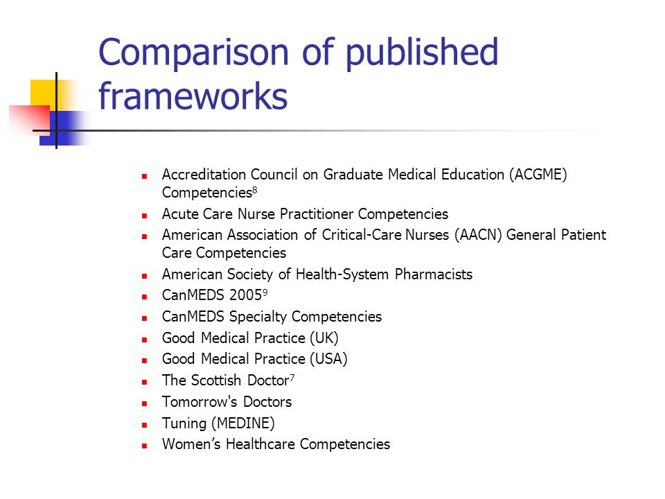 Comparison of published frameworks Accreditation Council on Graduate Medical Education (ACGME) Competencies 8 Acute Care Nurse Practitioner Competencies American Association of Critical-Care Nurses (AACN) General Patient Care Competencies American Society of Health-System Pharmacists CanMEDS 2005 9 CanMEDS Specialty Competencies Good Medical Practice (UK) Good Medical Practice (USA) The Scottish Doctor 7 Tomorrow s Doctors Tuning (MEDINE) Women's Healthcare Competencies