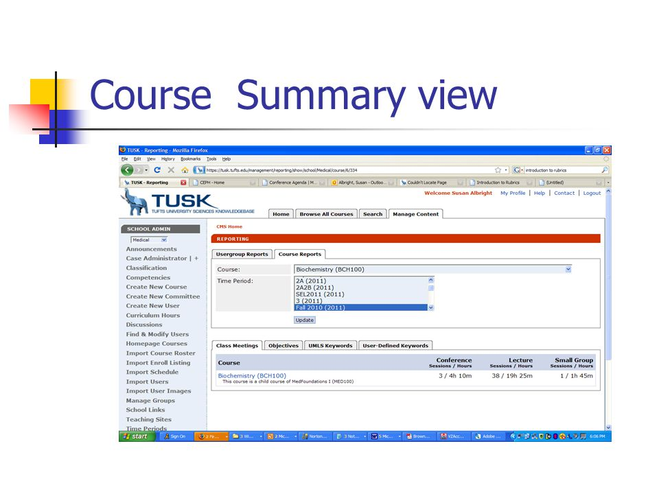 Course Summary view