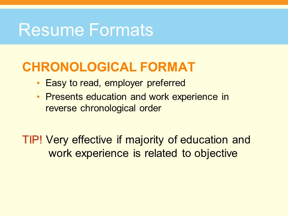 Resume Formats FUNCTIONAL FORMAT Focuses on skills and abilities you have used that relate to the objective Often used by career changers, graduate students and postdocs Groups experience (including volunteer work and extracurricular activities) under functional skill headings (e.g.