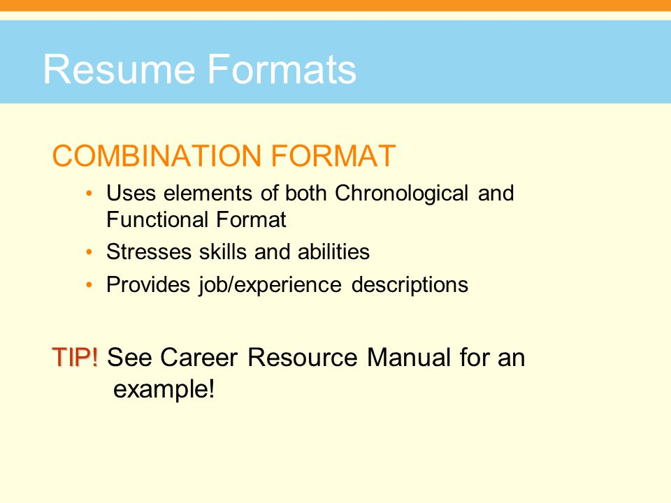 Necessary Categories EXPERIENCE continued When not using an accomplishment statement, describe how well you performed job tasks Start bullet point with an adverb, for example: Accurately filed documents to ensure staff had easy and quick access to all critical information.