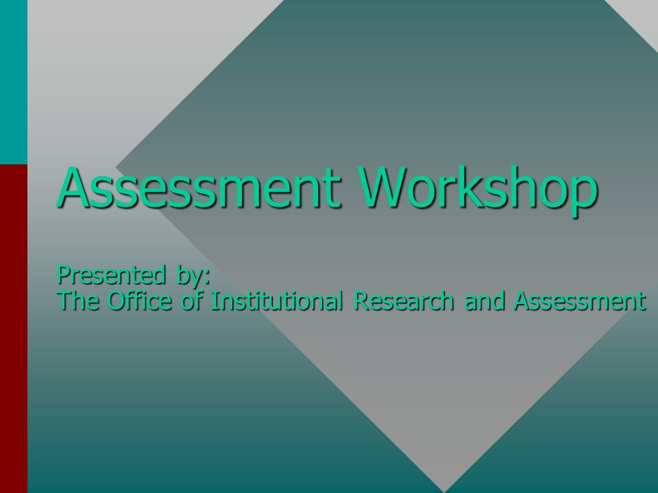 Characteristics of good assessment comprehensive, ongoing and evolutionarycomprehensive, ongoing and evolutionary broad involvement from facultybroad involvement from faculty clear, assessable educational goals and objectivesclear, assessable educational goals and objectives uses a variety of assessment and evaluation methodologiesuses a variety of assessment and evaluation methodologies collects meaningful and accurate datacollects meaningful and accurate data primary emphasis is on improvement of teaching and learningprimary emphasis is on improvement of teaching and learning (adapted from Seybert, 1998) (adapted from Seybert, 1998)
