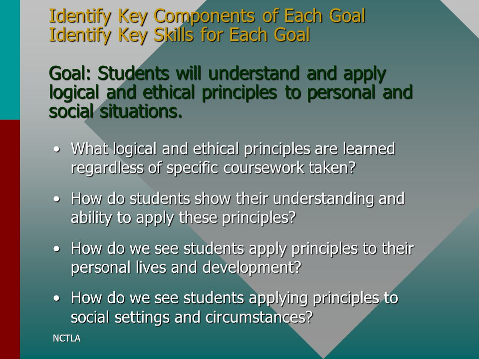 Identify Key Components of Each Goal Identify Key Skills for Each Goal Goal: Students will understand and apply logical and ethical principles to personal and social situations.