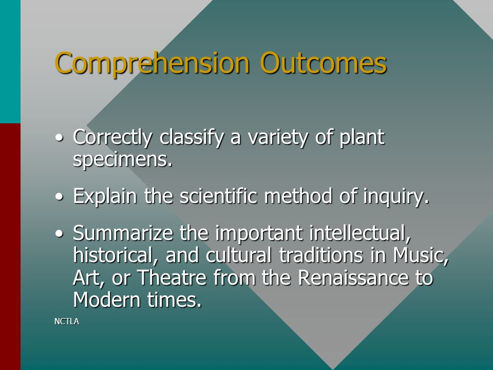 Comprehension Outcomes Correctly classify a variety of plant specimens.Correctly classify a variety of plant specimens. Explain the scientific method