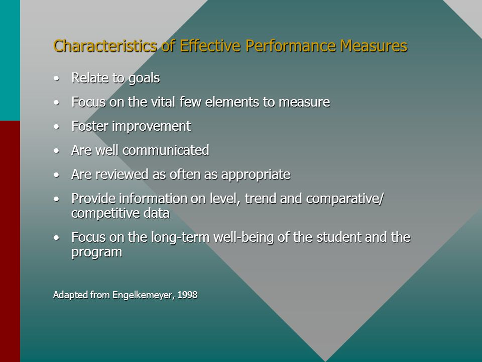 Characteristics of Effective Performance Measures Relate to goalsRelate to goals Focus on the vital few elements to measureFocus on the vital few elements to measure Foster improvementFoster improvement Are well communicatedAre well communicated Are reviewed as often as appropriateAre reviewed as often as appropriate Provide information on level, trend and comparative/ competitive dataProvide information on level, trend and comparative/ competitive data Focus on the long-term well-being of the student and the programFocus on the long-term well-being of the student and the program Adapted from Engelkemeyer, 1998