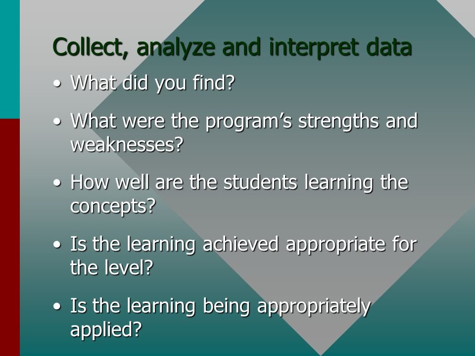 Collect, analyze and interpret data What did you find What did you find.