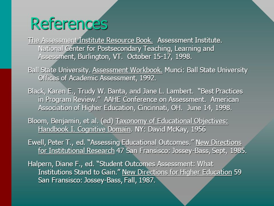 References The Assessment Institute Resource Book.