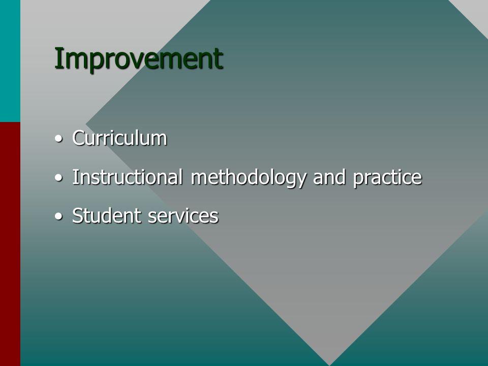 Improvement CurriculumCurriculum Instructional methodology and practiceInstructional methodology and practice Student servicesStudent services